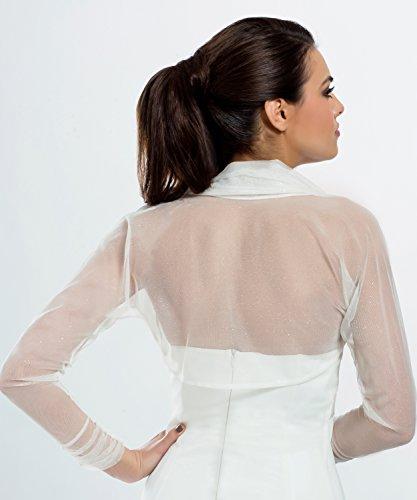 MGT-shop sposa Bolero Cape sposa pecora stretch tulle 36-46 bianco, sinlook, colore avorio o di Champagne