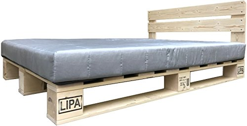 LIPA Palettenbett mit Kopfteil Massivholzbett Paletten Bett Holz 90 100 120 140 160 180 200 x 200cm hergestellt in BRD (90 x 200 cm)