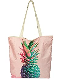 StyleBREAKER Small Beach Bag With Colourful Pine Print, Zip, Shopping Bag, Cloth Ladies 02012223, Color Rose