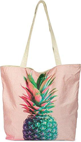 styleBREAKER kleine Strandtasche mit buntem Ananas Print, Reißverschluss, Shopper, Einkaufstasche, Stofftasche, Tasche, Damen 02012223, Farbe:Rose (Shopper Woven)
