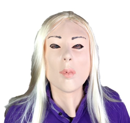 Fetish Mask Human Doll Blond Lady Latex Movie Quality Transvestite Masquerade Blonde Hair