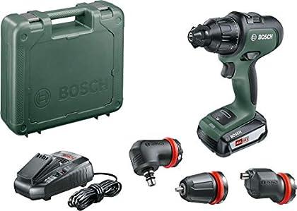 Bosch AdvancedImpact 18 Set - Taladro percutor a batería (Batería 18 V 2,5 Ah, cargador AL 1830 CV, HMI, con accesorios, en maletín)