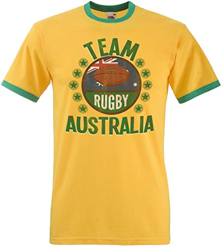 Team Australia Rugby Mens Retro T-Shirt Camiseta Para Hombre Perfect for World Cup