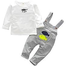 Happy cherry 2pcs Conjuntos de Ropa Infantil Camiseta Manga Larga Pantalones  Peto para Bebé-Niños ed86142d8e0