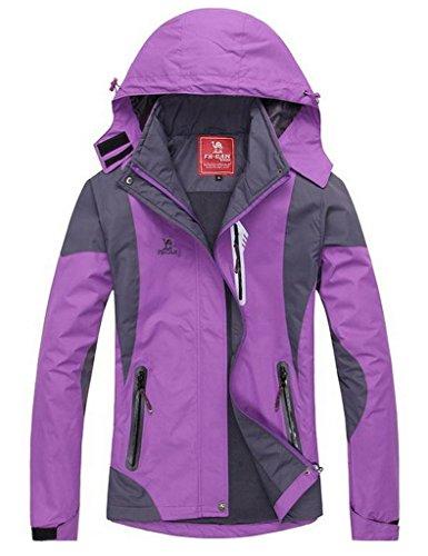 Toyobuy Femme Anorak de Sport Coupe Vent imperméable Manteau de Ski Randonnée Violet 3XL
