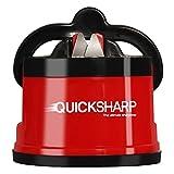 QUICKSHARP® Aiguiseur de Couteaux - L' Affûteur Simple et Sûr pour Cuisinier Professionnel et Amateur - Résultat Ultra-Précis et Facilité d'Utilisation grâce à sa fixation Ventouse (Rouge)