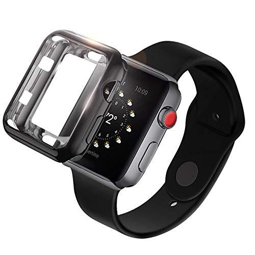 Preisvergleich Produktbild LBTrading Apple Watch 40mm / 44mm Hülle,  der TPU-Rahmen-volle Abdeckung-weiche dünne freie Abdeckung für iWatch 4 Size 40 mm (Black)