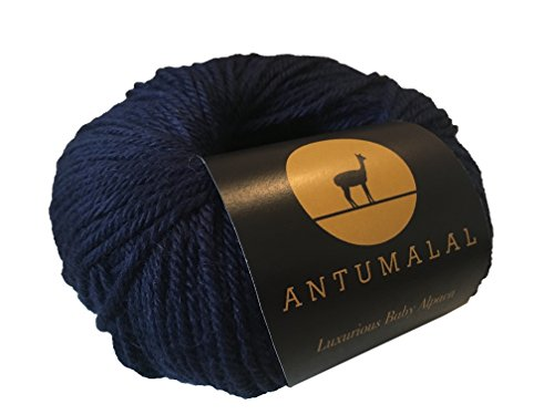 Antumalal 100% Alpaka Wolle 50g 112m Strickwolle Nadelstärke 6 Hypoallergen Luxury (Navy)