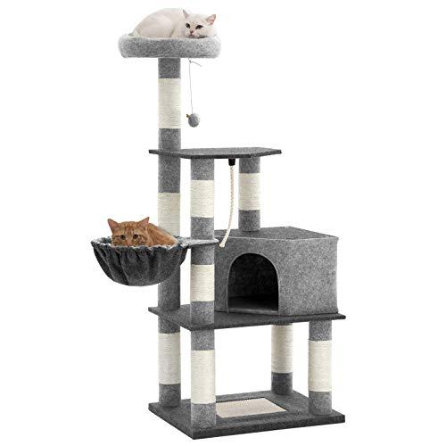 FEANDREA Árbol para Gatos, Torre de Gatos de 148 cm con Percha Acolchada, Rascador para Gatos con Cueva Espaciosa, Establo, Gris Oscuro y Gris Claro PCT60GYX