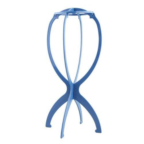 Support Porte Perruque Postiche Cheveux en Plastique Bleu
