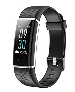OMNiX Polypropylene HR Smart Bracelet with Heart Rate Monitor, IP67 Waterproof, Step Counter Pedometer, Medium (Black, ID130PLUS)