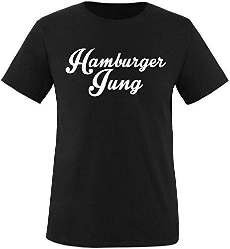 EZYshirt® Hamburger Jung Herren Rundhals T-Shirt Schwarz/Weiss