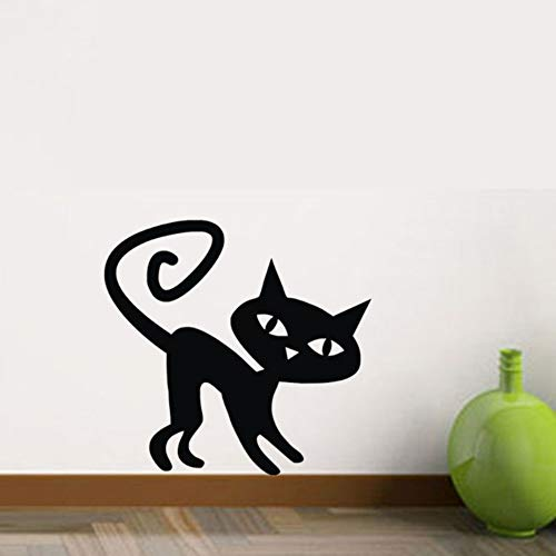 Zyunran Windung Schwänze Katze Wandaufkleber Halloween Kinderzimmer Wanddekoration Wandbilder Vinyl Kunst Aufkleber Wohnkultur Tiere Aufkleber 44x46 (Katze Schwanz Halloween)