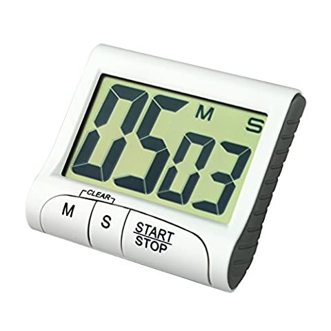 TERA D016 Digital Large Display LCD Count Up Down Timer Alarm Clock for Kitchen Cooking Sports Facial Mask Homework Examination White