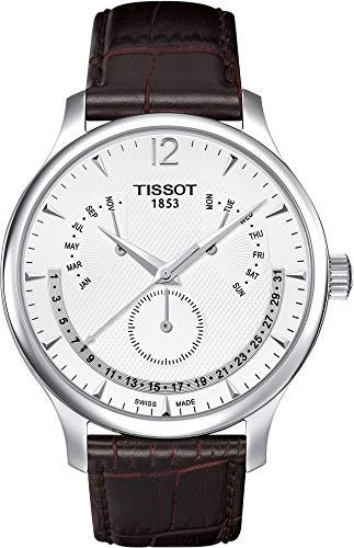 Tissot Herren-Uhren Rund Analog Quarz One Size Silber Leder 32000614