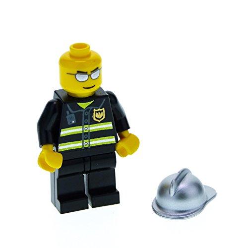 1 x Lego System Figur Mann Feuerwehr Town City Torso schwarz Reflektierende Streifen Hände gelb Sonnenbrille silber Helm silber cty047
