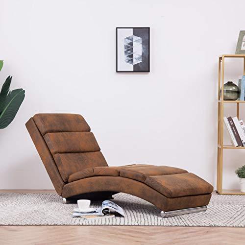 Festnight Relaxliege | Wohnzimmer Liegesessel | Modern Relaxsessel | Liegestuhl | Sofaliege | Polsterliege | Braun Wildleder-Optik und Holzrahmen mit Edelstahlbeinen 155 x 51 x 71 cm