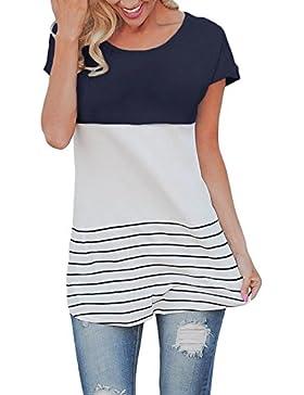 Butterme Las Mujeres de Moda de Manga Corta Suelta Top Casual Rayas Camiseta Blusas de Las Mujeres(Armada,S)