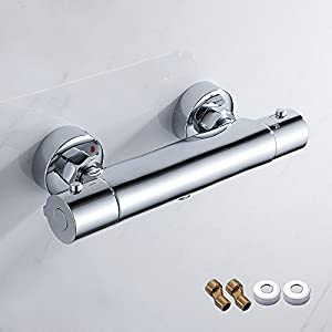 Comficent Grifo Termostático de Ducha Mezclador Termostático Baño con Termostato Incorporado a Temperatura de la Ducha del Termostato