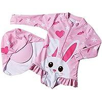 Traje De Baño para Niños Bunny 2pcs Siamese Secado Rápido Protector Solar Traje De Baño Pink-XXL