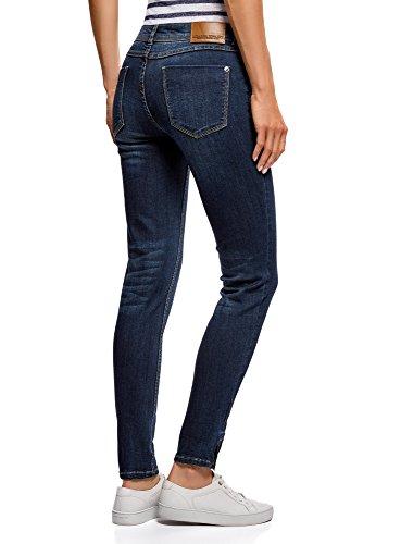 oodji Ultra Donna Jeans Skinny con Cerniere Blu (7900W)