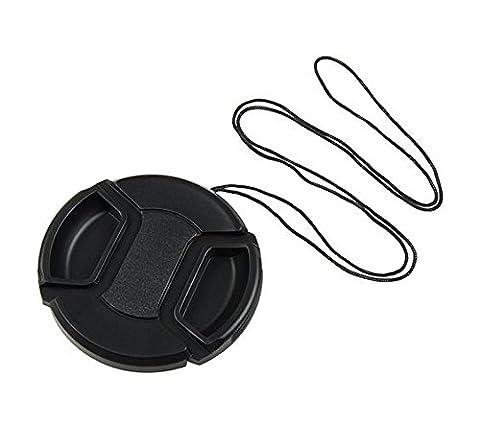 niceeshop(TM) 55mm Noir Centre Plastique Pincée Lens Cover avec le Aâble pour Appareils Photo
