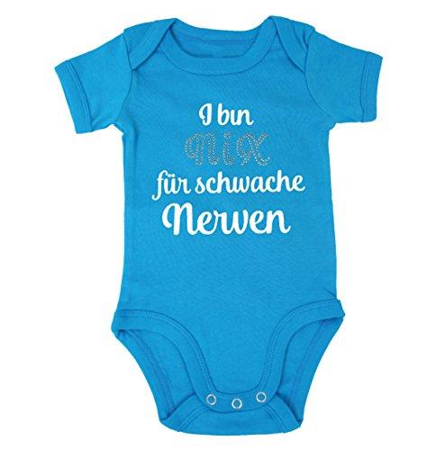 I BIN NIX FÜR SCHWACHE NERVEN Babybody Strasssteine Bayerisch Geschenk zur Geburt Mädchen Jungen Lausdeandl Lausbua