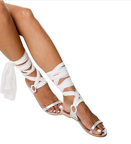 FARALY Donne Banda Satinata Ballerine Clip Toe Sandalo Piatto White