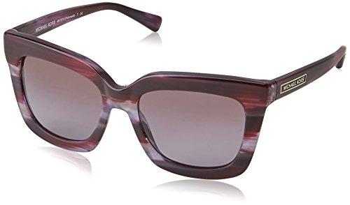 Michael kors polynesia, occhiali da sole unisex-adulto, nero (purple marble 30818h), 53