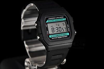 CASIO W-86-1VQES - Reloj unisex de cuarzo, correa de resina color negro