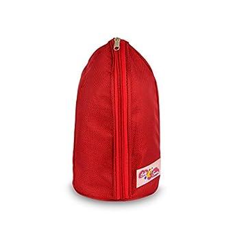270028 Grand porte-biberon isotherme 28 x 14 cm avec une poche sur le dos et une sangle - Rouge