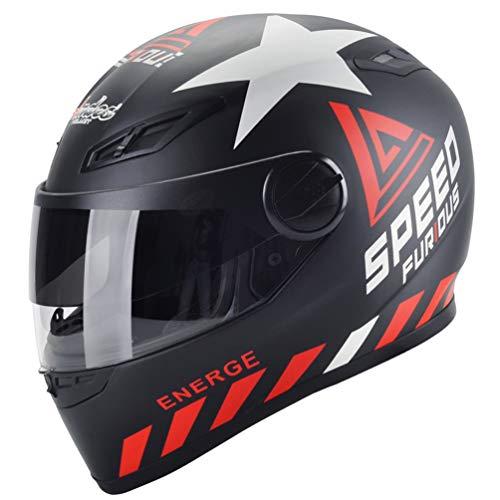 Casco moto integrale adulto, casco antifogging moto antivento unisex con scaldacollo estraibile, protezioni fuoristrada per quattro stagioni 54-61cm