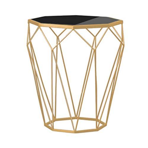 MYDZUS Beistelltisch Schmiedeeisen Sofa Beistelltisch Gehärtetes Glas Kleiner Couchtisch Sofa Beistelltisch Moderner Minimalistischer Marmor Nachttisch (Color : Gold, Size : 46 * 46 * 56cm)