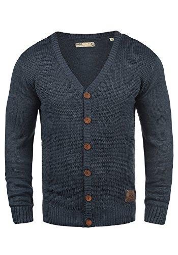 V-ausschnitt Lange Strickjacke (SOLID Tyrell Herren Strickjacke Cardigan Feinstrick mit V-Ausschnitt aus hochwertiger Baumwollmischung Meliert, Größe:XXL, Farbe:Insignia Blue Melange (8991))