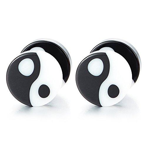 8MM Kreis Schwarz Weiß Yin-Yang Herren Damen Ohrringe Ohrstecker, Fake Plugs Ohr Cheater Tunnel Gauges Ohr-Piercing, 1 Paar