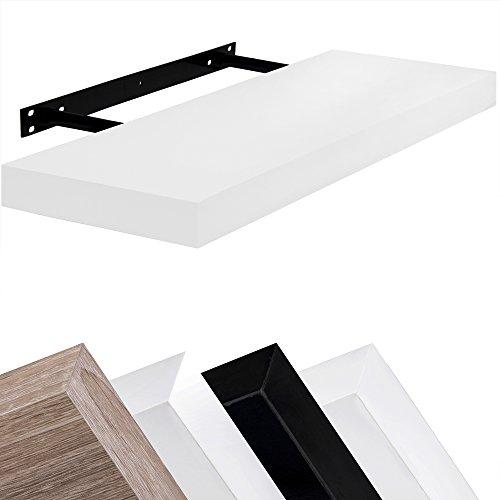 Wandboard Schweberegal Hängeregal Bücherregal Küchenregal freischwebend 50cm Weiß - 3 weitere Farbvarianten,weitere Längen 70cm 90cm 110cm