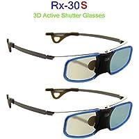 BOBLOV 3D Glasses, Lunettes 3D DLP-Link Rechargeable Design Léger, Compatibles avec Les Vidéoprojecteurs DLP 3D (Lot de 2)