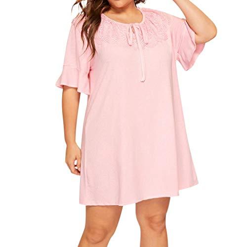Damen T-Shirtkleid Plus Size Schmetterlings-Hülse MTI Spitze-Kurzarm mit Lace Patchwork Freizeit Leisure Rosa Übergröße-Große Größen URIBAKY