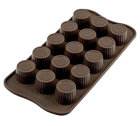 Silikomart 22.107.77.0065 SCG07 Moule pour Chocolat Forme Praline 15 Cavités Silicone Marron