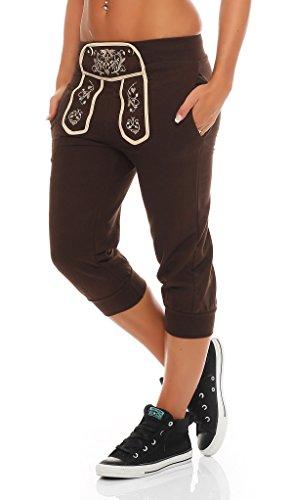 Gennadi Hoppe Damen Trachtenlook Capri Sporthose (3XL, braun) (Capri-hosen Unten)