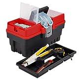 kleiner 6 Liter Werkzeugkoffer 8,5 kg Traglast Werkzeugkasten 37 x 17 x 20 cm Kleinteilekoffer mit 2 Kleinteilemagine im Deckel