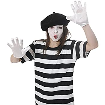 FRENCH MIME ARTIST FANCY DRESS COSTUME T-SHIRT BLACK BERET HAT GLOVES FACE PAINT