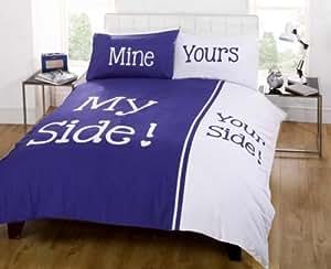 Parure de lit double parure de lit my side your side bleu for Parure de lit bleu et blanc