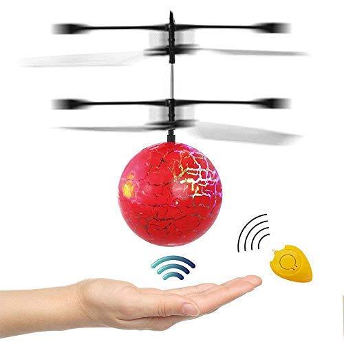 RC Fliegender Ball Hubschrauber Drohne mit bunt leuchtendem und Fernbedienung Hubschrauber Spielzeug Geschenke für 3-12 Jahre alt Jungen Mädchen Kinder Indoor-und Outdoor-Rot