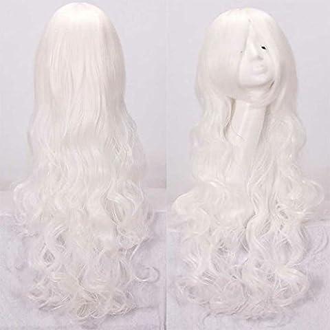 Morbuy Perruque pour Femme Longue Bouclée avec Frange de Cosplay Longue Bouclée avec Frange de Côté (Plusieurs couleurs)