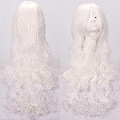 Morbuy Damen Perücke Kunsthaar Lang Gelockt Welle Wigs Sexy lange gewellte geschichteten Cosplay Requisiten(Mehrere Farben) (weiß)