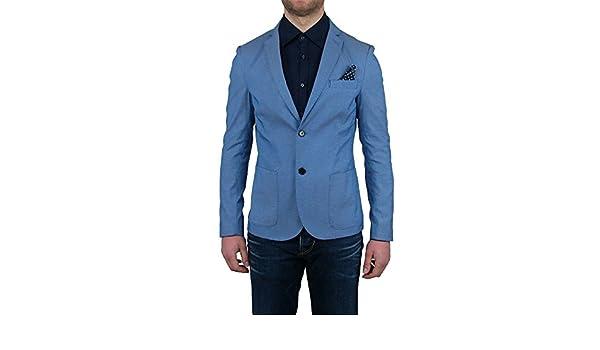 Giacca Sartoriale Uomo Made In Italy DNA ITALIAN Pochette Blu Cobalto Slim Fit