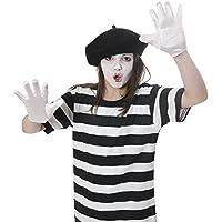KIDS MIME ARTIST FANCY DRESS COSTUME KIT 4 PIECE TSHIRT-BERET-GLOVES-FACE 046427b7e5e