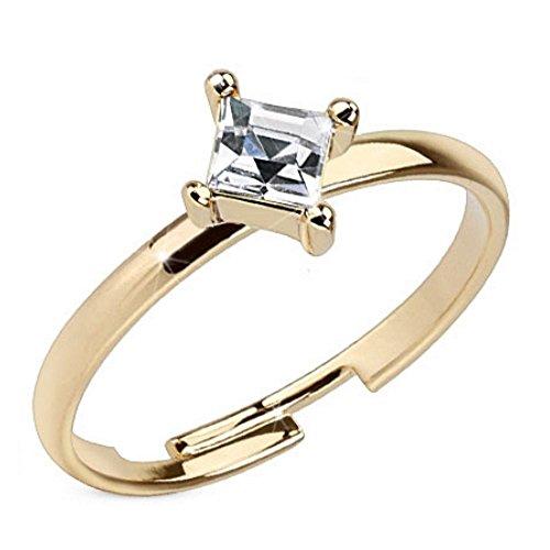 Bungsa® Zehenring Stein Zirkoniakristall Damen Mittelring Größenverstellbar Gold Brass (Zehring Fussschmuck Fussring Toe-Ring Nail Ring Mittelring Nagelring biegbar verstellbar)