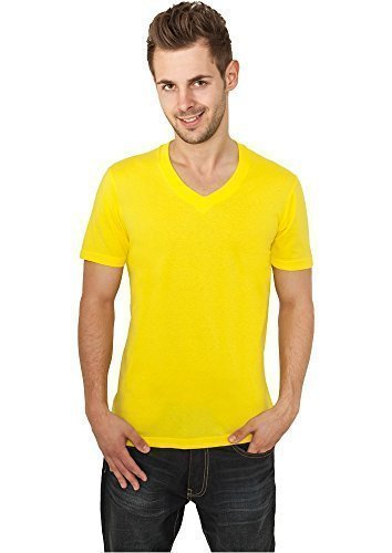 Urban Classics TB169 Basic V-Neck Tee T-shirt Collo V Manica Corta (Yellow, XS)